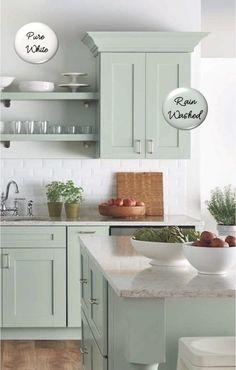 Kitchen Cabinets Color Combination, Classic Kitchen Cabinets, Green Kitchen Cabinets, Kitchen Cabinet Design, Redoing Kitchen Cabinets, Kitchen Cabinet Color Schemes, Refinish Cabinets, Kitchen Countertops, Cabinet Paint Colors