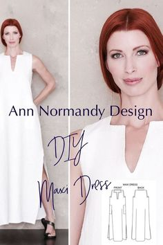 The classic full length caftan style Maxi Dress sewing pattern by Ann Normandy Design. So chic and pure comfort. #caftansewingpattern #caftanpattern #diymaxidress #diycaftan #sewingpattern #sewingproject #coveruppattern #annnormandydesign