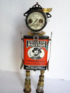 Sir Walter Bot - found object robot sculpture assemblage