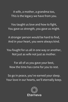 The perfect funeral poem for a wife, mother or grandmother - is-sit tiegħi Funeral Poems For Grandma, Grandmother Poem, Mum Poems, Grief Poems, Funeral Prayers, Mother Poems, Grandmother Quotes, Funeral Readings, Grandmothers