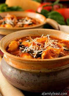 Slow Cooker Tomato and Tortellini Soup - A Family Feast