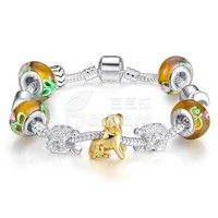 Barbara丨Yellow Murano Glass Beads 925 Silver Charm Bracelets & Bangles for Women Jewelry (Size: 20 cm)
