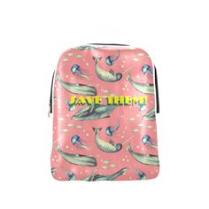 PiccoGrande`s Save the Ocean whales-jellyfish-white-pink-yellow Popular Backpack (Model Popular Backpacks, Mouth Mask Fashion, Cute Photos, Whales, Jellyfish, Dog Friends, Dog Mom, Pink Yellow, Octopus