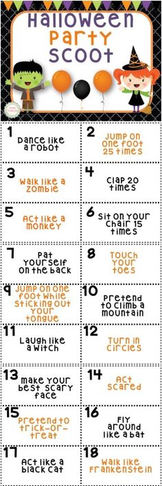 Halloween Scoot is a great way to have some fun during a Halloween party or just as a fun brain break in October!