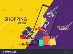 Shopping Online On Website Mobile Application Stock Vector (Royalty Free) 1726234522 Purple Backgrounds, Mobile Application, Digital Marketing, Online Shopping, Royalty Free Stock Photos, Banner, Ads, Website, Image