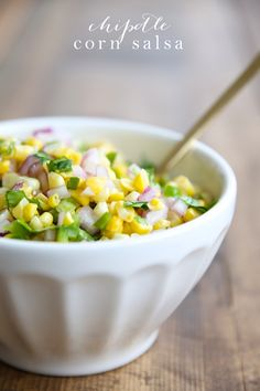 Amazing corn salsa - a Chipotle copycat recipe! Add it to tacos & salads or enjoy it as a light dip!