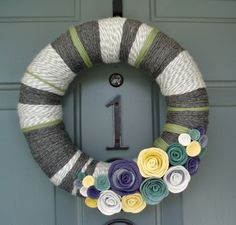 Yarn Wreath Felt Handmade Door Decoration - Cool Grey 12in. $45.00, via Etsy.  LOVE THIS!