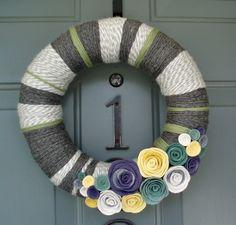 Yarn Wreath Felt Handmade Door Decoration - Cool Grey 12in. $45.00, via Etsy.  LOVE THIS!