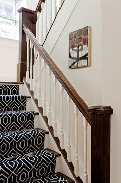 bold print stair runner. minus the classic brown finish, would make it black or white instead