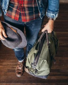 Probably my most essential bag: The Weekender. Here it is in a nice heavy 20oz canvas with leather details. Two outside pockets for your passport, wallet, or flask. Plenty of space for a weekend's wor
