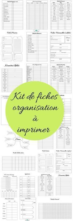 Kit de fiches pour s organiser à imprimer - Mon carnet déco, DIY, organisation, idées rangement. Diy Organisation, Organization Bullet Journal, Planner Organization, Organising, E Commerce, Notebook Diy, Flylady, Filofax, Journal Inspiration
