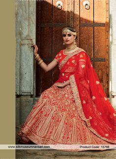 Exciting Red Cut Dana Wor Bridal Lehenga Choli #LehengaCholi