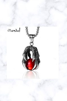 Daenerys Red Dragon Ball Claw Necklace Pendant Chain Stainless Steel