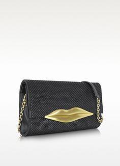 Diane Von Furstenberg Carolina Lips - Large Black Raffia Cluch | FORZIERI