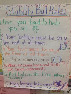 Stability ball in the classroom anchor chart