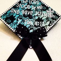 Graduation Cap Decorated With Black Lace, Rhinestone And A Bow
