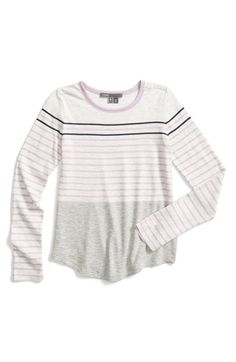 Vince Mixed Stripe Long Sleeve Tee (Baby Girls) available at #Nordstrom