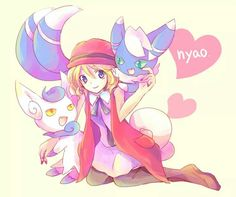 Serena and the two Meowstic ♡ Credits to whoever made this fan art