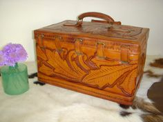 Vintage Tooled Leather Train Case for Cosmetics or by LachNLoaded