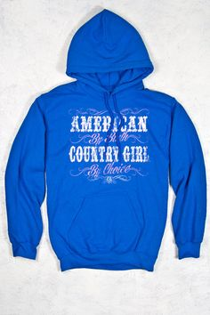 Royal Blue - Women's Country Girl® American by Birth Relaxed Pullover Hoodie | The quality of this pullover hoodie is one of the best and the double-lined hood with matching drawstring finish off the details.  • This style has a relaxed and causal fit; if you are in-between sizes or want a more fitted look we recommend you go down a size  • 7.75 oz., 50% cotton, 50% polyester  • Double-needle stitching  • 1x1 rib knit waistband and cuffs