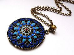 Blue mandala - polymer clay necklace jewelry mandala necklace fantasy jewelry Good Luck necklace. Polymer clay necklace. Best gift for her