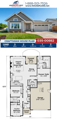 Featuring 1,848 sq. ft., Plan 035-00882 has 3 bedrooms, 2 bathrooms, a kitchen island, an open concept, and a 2 car garage. See more details about this Craftsman house plan on our website. Craftsman Style Homes, Craftsman House Plans, Architectural Elements, Open Concept, Car Garage, House Floor Plans, Square Feet, My Dream Home, Art Decor