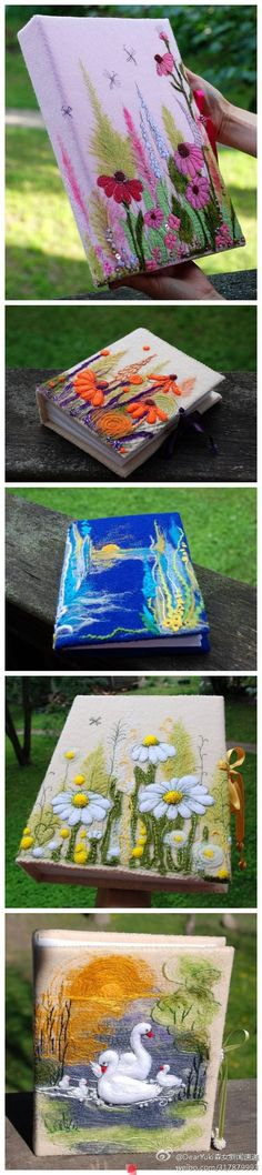 Hand embroidered fabric & stitches book.