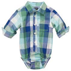 Button-Front Poplin Plaid Bodysuit | Baby Boy World's Best Overalls  Size: 6M