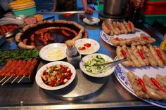sausage & rice sausage, night market food, Taiwan