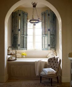 Its a bathroom but I would use this style for a reading nook! Just replace the tub with a comfortable creamy bench!