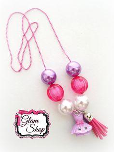 Shopkins Necklace TUTU CUTE Charm Bubblegum Chunky Bead