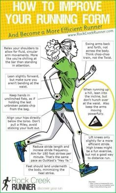 How to improve your running form Exercise and fitness routines, motivation, tips and advice. Ideas and motivation for beginners and experienced athletes. Get Fit and Keep Fit Fitness Workouts, Running Workouts, Fitness Tips, Health Fitness, Running Hacks, Fitness Routines, Running Humor, Mini Workouts, Tips On Running