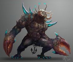 Creature concept by Traaw Monster Concept Art, Fantasy Monster, Monster Art, Weird Creatures, Fantasy Creatures, Mythical Creatures, Cool Monsters, Sea Monsters, Creature Concept Art