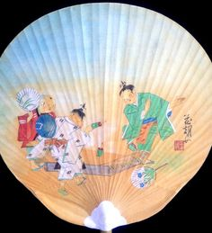 Japanese Paper Paddle Fan Kids Playing by VintageFromJapan on Etsy, $15.00