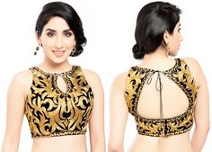 Give fashion twists to boring blouse designs and take your simple saree to the whole new level! You can set fashion on fire even in desi look by wearing modern saree blouse. It was the time when young girls and many women just avoid wearing saree. But aft High Neck Saree Blouse, Saree Blouse Neck Designs, Sleeveless Blouse, Lehenga Blouse, Sexy Blouse, Saree Dress, Work Blouse, Choli Designs, Saree Jacket Designs Latest