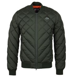 Lacoste L!VE Forest Green Diamond Quilt Bomber Jacket