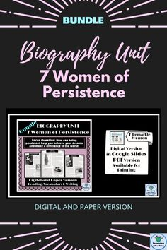 Are you looking for a biography project for elementary students that focuses on 7 notable, brave women, who through their persistences, were among the most influential women in America? This comprehensive bundle includes many ELA standards for 3rd grade, 4th grade & 5th grade. Students explore facts for all of these iconic woman, including an inspirational quote from each. Sample tips, student templates, graphic organizers, check lists, anchor charts, a rubric & more are included. Reading Comprehension For Kids, Reading Skills, Creative Teaching, Teaching Kids, Biography Project, Informational Writing, Teacher Resources, Encouragement, Inspirational Quotes