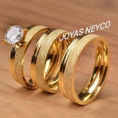 Hermosas Joyas para boda fabricadas en oro italiano ley 750 Engagement Rings Couple, Silver Engagement Rings, Engagement Ring Cuts, Gold Ring Designs, Gold Bangles Design, Fashion Rings, Fashion Jewelry, Traditional Wedding Rings, Wedding Ring Styles