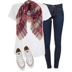 Outfits for school by lila-lofving on Polyvore featuring Frame Denim, Converse and Humble Chic