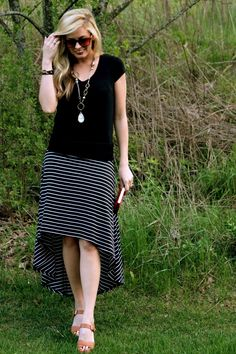 striped high/low skirt