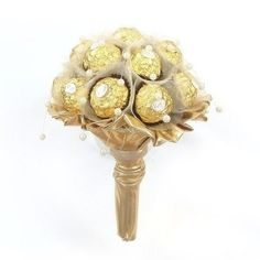 A stunning, modern and luxurious bouquet of satin luxury chocolates Ferrero Rocher, beads and fancy packaging - beautiful and elegant bouquet will make its recipient truly special