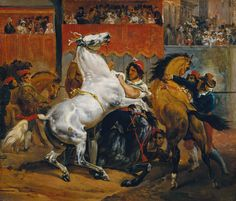 The Start of the Race of the Riderless Horses by Emile Jean Horace Vernet, 1820