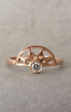 The Victoria ring - 18k gold Art Deco diamond ring - alternative engagement ring - unique engagement ring - diamond crown ring