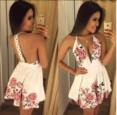 Dress Us Vestido estampado com decote frente detalhe argola nas cotas Ref:203-1933 - LIMONE Cute Dresses, Casual Dresses, Short Dresses, Summer Dresses, Chic Outfits, Dress Outfits, Fashion Outfits, Womens Fashion, Homecoming Outfits