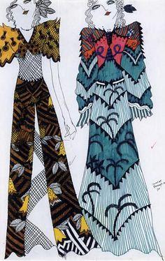 Fashion illustration by Celia Birtwell (b. 1941), ca 1970.