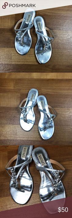 Badgley Mischka Silver Rhinestone Jewel Sandals 8 Badgley Mischka silver rhinestone jeweled Sandals. Beautiful and in great condition. Size 8 Badgley Mischka Shoes Sandals