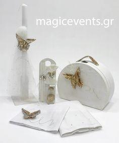 ΣΕΤ ΒΑΠΤΙΣΗΣ GOLDEN BUTTERFLY Christening, Place Cards, Candle Holders, Butterfly, Place Card Holders, Candles, Pictures, Decor, Products