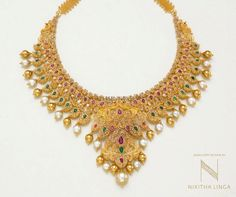 Grand Gold Necklace From Nikitha Linga ~ South India Jewels Gold Mangalsutra Designs, Gold Earrings Designs, Gold Jewellery Design, Gold Jewelry, Jewelery, Diamond Jewelry, Jewelry Sets, Unique Jewelry, Mango Necklace