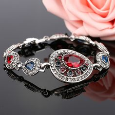 Vintage Crystal Cuff Bracelets&Bangles Female Antique Silver Buckle Clasp Glass Ethnic Retro Geometric Charm Bracelet for Women-in Charm Bracelets from Jewelry on Aliexpress.com | Alibaba Group