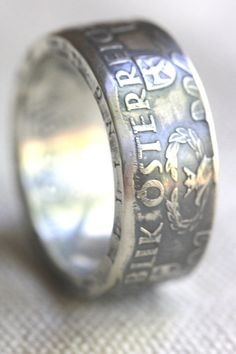 SILVER Handcrafted Coin Ring  - BIG Man's Ring!! - 1959 Austrian 50 Shilling - SIZE 13 - Can Re-size!! on Etsy, $148.96 CAD